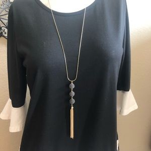 New INC gold and gunmetal tassel Necklace